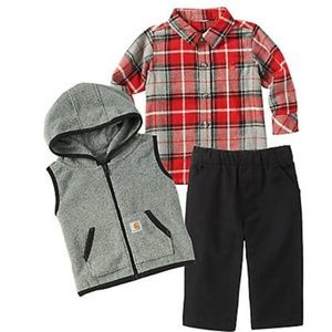 Nwt Baby boy carhartt 6m flannel 3 piece outfit